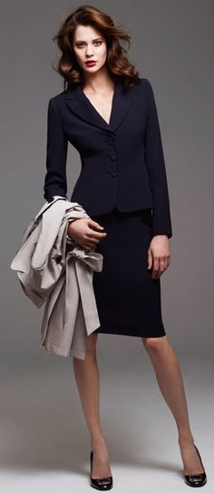 outfit post: navy colorblock sheath, navy two-button jacket, black pointed toe pumps Fashion Mode, Office Fashion, Business Fashion, Work Fashion, Suit Fashion, Womens Fashion, Professional Wear, Business Professional, Business Dresses