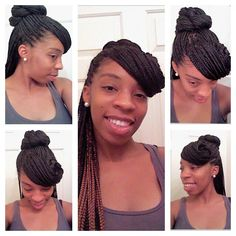 Box Braid Style: half up half down pinned up swoop with a twisted bun!