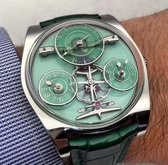 The Emmanuel Bouchet Complication One is also available with this lovely green. Cheap Watches For Men, Luxury Watches For Men, Dream Watches, Cool Watches, Unique Watches, Men's Watches, Mens Toys, Beautiful Watches, Rolex
