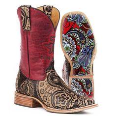 Women's Tin Haul 14-021-0007-1205 Paisley Rocks Brown Leather Cowboy Boot's #TinHaul #CowboyWestern