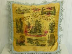 NEVER USED Vintage California Souvenir Pillow COVER, Yosemite, Lake Tahoe, Golden Gate Bridge - Vintage Travel Trailer and Home Decor on Etsy, $34.00