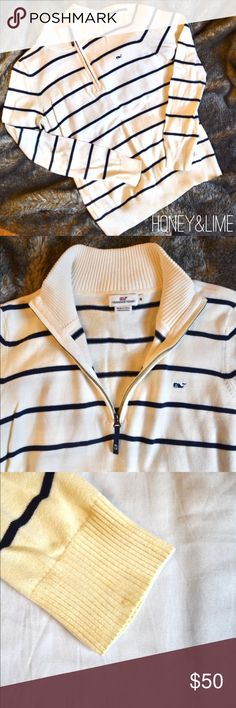 Vineyard Vines Quarter Zip Vineyard Vines Quarter Zip   white with dark blue stripes   very small stain on sleeve - can be seen in the last picture Vineyard Vines Tops Sweatshirts & Hoodies