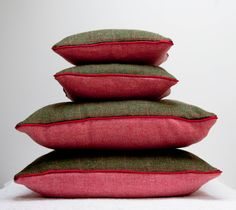 Harris tweed cushion olive check and pink with red piping. £39.00, via Etsy.