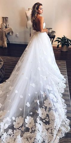 36 Gorgeous A-Line Wedding Dresses � a line wedding dresses low back with train floral ines di santo #weddingforward #wedding #bride Wedding Dress Low Back, Perfect Wedding Dress, Dream Wedding Dresses, Lace Wedding Dress, Bridal Dresses, Wedding Gowns, Wedding Bride, Dress Lace, Dresses Dresses