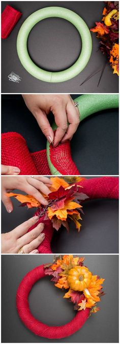 Fall Wreaths, 2 Ways - Autumnally awesome: DIY a beautiful fall wreath for your door!Autumnally awesome: DIY a beautiful fall wreath for your door! Diy Fall Wreath, Autumn Wreaths, Fall Diy, Wreath Ideas, Spring Wreaths, Summer Wreath, Holiday Wreaths, Thanksgiving Crafts, Holiday Crafts