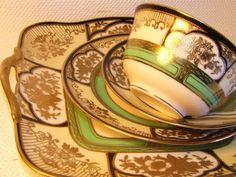 Art Deco Noritake Porcelain Trio - rich gold decor.