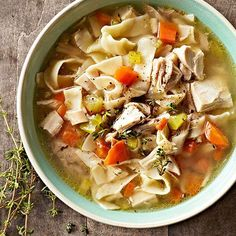 On a cool day, nothing tastes better than a steaming bowl of homemade chicken-noodle soup! Our recipe is loaded with good-for-you veggies and homemade egg noodles,and topped with snipped fresh thyme for added flavor! http://www.bhg.com/recipes/healthy/dinner/heart-healthy-comfort-food-dinners/?socsrc=bhgpin122914bestchickennoodlesoup&page=4