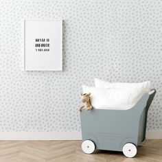 Blue dots wallpaper | ¡Es el turno de tus paredes! Únete a la tendencia del papel pintado con Blue Dots, un original papel pintado de topos azules sobre el fondo blanco, ¡genial para completar la habitación de tus peques!  #kenayhome #home #blue #dots #wallpaper #decoración #interior #dormitorio #infantil #kids #papelpintado #menta #azul #deco #hogar #pared #buggy #carrito #juguetes #infinito #lámina Kids Room Furniture, Grey Wallpaper, Room Interior, Design Interior, Bath Design, Baby Room, Toddler Bed, Nursery, Bedroom