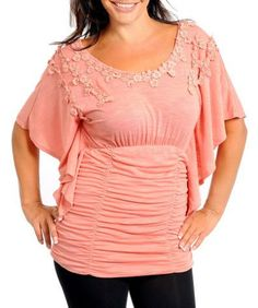 Plus size - Flutter Sleeve Top Coral