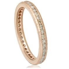 Rough Cut 1_2CT Gray Diamond Eterntiy Stackable Anniversary Ring Band 14K Rose Gold