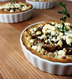 Chicken & Balsamic Onion Goat Cheese Tartlets!  A heavenly sweet & savory entree using Pillsbury buttermilk biscuits :)