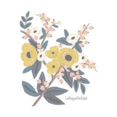 Flores silvestres color mostaza hojas azules patrón punto de cruz - decoración para cuadros - motivo para mantel servilletas té.