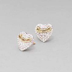 Heart-shaped stud earrings with pavé cubic zirconia stone and Juicy logo banner. Description from social.popsugar.com. I searched for this on bing.com/images