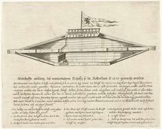 Anonymous | Het malle schip van Rotterdam, 1653, Anonymous, 1653 | Het malle of wonderlijke schip van Rotterdam, ontworpen door Jean Duson, 1653. Dichtgetimmerd ruitvormig houten schip met in het midden een scheprad of schroef (bedekt door een daarover vastgehecht blaadje). Bovenop het schip een vlag, onderaan een beschrijving in 8 regels en de legenda 1-9.