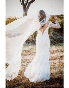 Chic Illusion V Neck Sheath Lace Wedding Dress with Long Sleeves