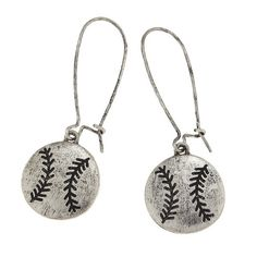 """2 1/2"""" Burnished silver tone hook style earrings with baseball charms."""