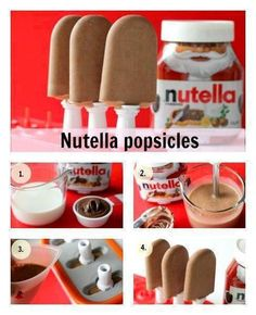 Nutella popsicles, using nutella and milk