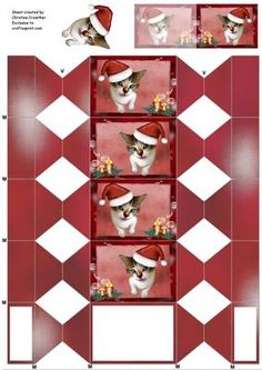 - A sweet xmas kitty cat in candle embellished frame on a red background. These sheets make a cracker shaped box suitable for. Christmas Place, Christmas Gift Bags, Christmas Cats, Christmas Time, Sock Snowman, Parchment Cards, Printable Box, Christmas Crackers, Matching Gifts