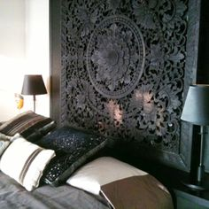 carved teak lotus headboard