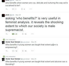 "Asking ""Who Benefits?"" as feminist analysis."