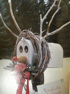 Different Ideas for a Christmas Home Mailbox reindeer: Grapevine wreath, twigs, water bottle and foam ball for the nose, magnets for eyes.Mailbox Mailbox may refer to: Christmas Mailbox Decorations, Christmas Yard, Noel Christmas, Country Christmas, Winter Christmas, Christmas Wreaths, Christmas Ornaments, Christmas Island, Mailbox Decorating