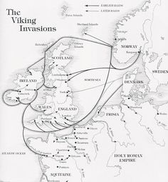 Map showing the principal routes of Viking invasion of England and Europe. Note in particular the arrow that shows a primary invasion route past the Isle of Man and directly into Lancashire.