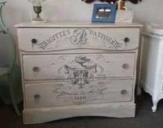 Vintage french script dresser #painted #vintage #dresser #rustic #distressed #farmhouse #shabbychic www.handpaintedbycookie.com