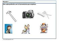 Resultado de imagen para asociacion  de las profesiones con sus materiales de preescolar