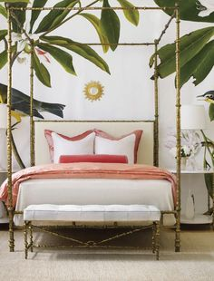 Head-turning bold bedroom interior with a tropical twist.