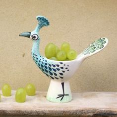 Peacock Egg Cup by Hannah Turner Ceramics - The latest addition to the eggcup range is the regal Peacock. Inspired by a Sri Lankan antique carving, and also the Peacocks strutting around Corsham Court, this elegant eggcup makes quite an impact!