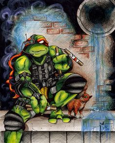 TMNT Teched Out Turtle Art Print by sbyk
