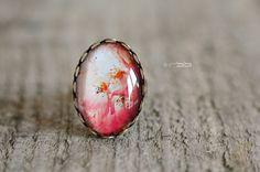 """Bague Cabochon de verre ovale 18x25 mm """"Bouquet Floral"""""""