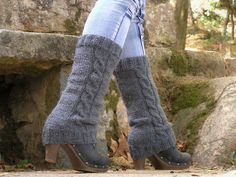 LEG WARMERS KNIT Grey Acrylic Braided Hand Knitted by NATgirona, $23.90