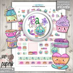 50%OFF - Tea Party Stickers, Planner Stickers, Tea Stickers, Printable Planner Stickers, Watercolor Tea Stickers, Tea Time, Stickers