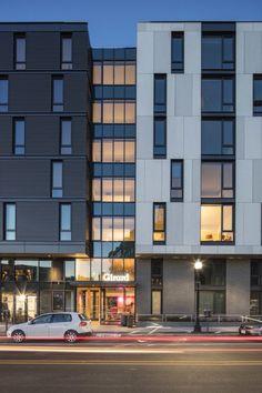 Mixed use complex. 240k sq. ft. Utile design arch. EQUITONE [tectiva] TE00 and TE10 facade panels. adress: 600 Harrison Avenue, Boston, MA.