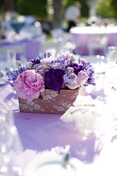 Assorted purple floral in wooden box covered in beautiful lace for a gorgeous centerpiece Wedding Coordinator, Wedding Events, Wedding Ideas, Mauritius Wedding, Shades Of Purple, 50 Shades, Purple Wedding Decorations, Event Services, Color Of The Year