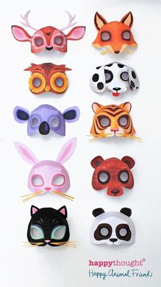 Printable animal mask templates DIY bunny mask, cat mask, tiger mask and more! https://happythought.co.uk/product/easy-printable-animal-masks 3D mask pattern and colour in diy animal masks