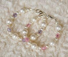 lead free baby bracelet, newborn bracelet, cubic zirconia bracelet, twins, baby bracelet, pink, purple, photo prop. via Etsy.