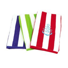 Cabana Stripe Monogrammed Beach Towels - Gorgeous new, soft, luxurious towels great for beach, pool, back to school for college students for dorm or sorority living. Also precious for Preschoolers and Kindergarteners for nap time! Personalize with your favorite monogram. Monogram is free!  BeauJax Boutique  www.beaujax.com