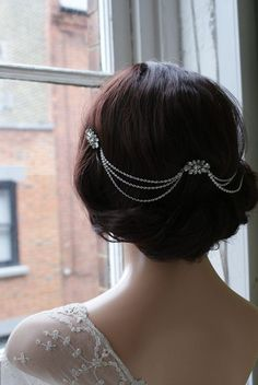 Hair Chain Headpiece Art Deco Headpiece Bridal hair von AgnesHart