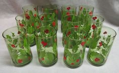 Vintage Anchor Hocking 12 Beverage Glasses Holly Wreath 12 Ounces Avocado Green #AnchorHocking