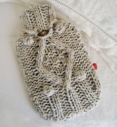 Ravelry: KNITTING PATTERN for chunky cable knit hot water bottle cover pattern by Biscuit Scout