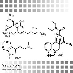 SVG File, dmt, lsd and thc Molecule, svg files, svg files for cricut, cricut downloads,vector, clipart, SV00048 by Veczy on Etsy