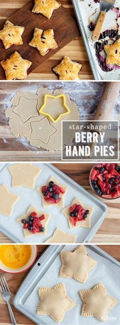 How to Make Star-Shaped Berry Hand Pies. These patriotic star-shaped berry hand pies are a must for Memorial Day, of July and any summer BBQ or picnic! 4th Of July Desserts, Fourth Of July Food, Just Desserts, Delicious Desserts, Dessert Recipes, Yummy Food, July 4th, Picnic Recipes, Memorial Day Desserts