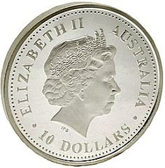 Obverse side of the 10 oz. Australian Lunar Silver Bullion Coin