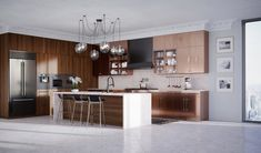 A modern, sleek kitchen in copper & walnut. Taking things to the next level! Kitchen Cabinetry, Kitchen Pantry, Bright Pillows, Delta Faucets, Contemporary Interior Design, Architecture Details, Design Model, Modern, Kitchen Design