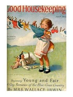 Laundry Clothesline.  July 1932 Good Housekeeping Cover - art by Jessie Willcox Smith.