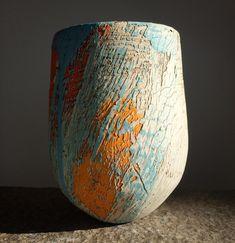 Marigold blue orange and cream vessel. @gardinershop #lesleymcinally #ceramics #canadianceramics #contemporarycetamics #abstractlandscape #clay #keramik