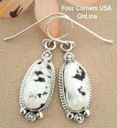 Four Corners USA Online Native American Artisan Jewelry - White Buffalo Turquoise Sterling Silver Earrings by Native American Navajo Larry G. Yazzie NAER-1422, $126.00 (http://stores.fourcornersusaonline.com/white-buffalo-turquoise-sterling-silver-earrings-by-native-american-navajo-larry-g-yazzie-naer-1422/)