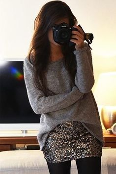 Loose longed sleeve grey sweater, silver sparkly mini skirt, and black tights, perfect to rock a mini in winter, and such simple prices but so gorgeous. Maybe for New Years party? You can find all of these items for very low prices at forever 21